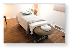Massage table in room